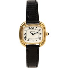 """Camilla Dietz Bergeron, Ltd. Cartier 18K Yellow Gold """"Square Ellipse""""... (91.100 ARS) ❤ liked on Polyvore featuring jewelry, watches, accessories, bracelets, clocks, leather-strap watches, 18k gold watches, vintage gold watches, square watches and 18 karat gold watches"""