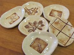 NATURE SERIES - Pottery Soap Dishes, Trinket Tray, Spoon Rests. $4.75, via Etsy.