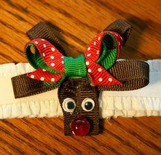 Reindeer hair bow.clip tutorial *Christmas design idea
