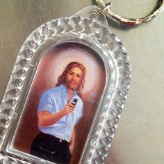 """""""I agree with the creator of this keychain that Modern Jesus would be a flip phone user, but not that he would have super fitted shirts."""" from @yourmonkeycalled"""