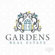 Logo for sale: Flowing shapes and leaves create the imprecation of a house in the white space.