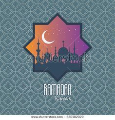 ramadan kareem month celebration greeting card design illustration vector, happy ied mubarak islamic moslem traditions