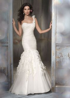 Jim Hjelm Chiffon & Crystal Shirred Gown - Nearly Newlywed Wedding Dress Shop