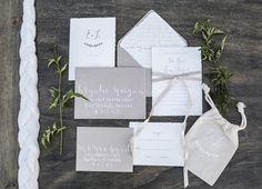 White and grey wedding invitations