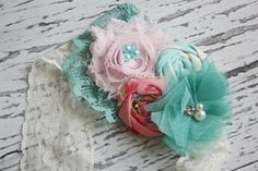 Reverie- pink and aqua headband with lace, rosettes, chiffon flowers and lace