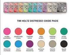 Tim Holtz  Distress Oxide 12 ink pads (July '17) Black Feathers, Peacock Feathers, Distress Oxides, July 17, Candy Apples, Ink Pads, Tim Holtz, Raspberry, Card Making