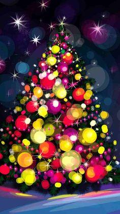 2014 Cartoon colorful Christmas tree iPhone 6 wallpaper - balls, stars
