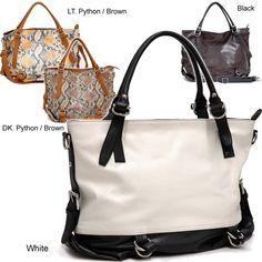Dasein Two-Tone Python Embossed Zip-Top Tote Bag (Coffee / Black), Women's, Brown/Black