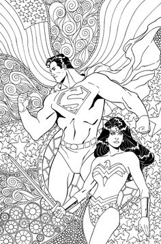 Superman Wonder Woman (DCU variant - Adult Coloring Book cover) is a comic book published by DC Comics written by Peter J. Tomasi drawn by Doug Mahnke with a cover by Aaron Lopresti for fans of superman, wonder woman in the genre of superhero Superhero Coloring Pages, Cool Coloring Pages, Printable Coloring Pages, Adult Coloring Pages, Coloring Pages For Kids, Coloring Sheets, Coloring Books, Son Of Batman, Superman Wonder Woman