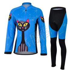 Womens Sports Blue Cycling Clothing Bike Long Sleeve Jersey With Pants Wear Ropa Ciclismo Riding Suits Cloths #Affiliate