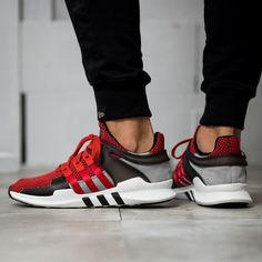 ADIDAS EQUIPMENT SUPPORT ADV 9116 BLACK RED TRAINERS BA8327 Red Trainers, Adidas Sneakers, Kicks, Shoes, Black, Fashion, Sneaker, Adidas Tennis Wear, Adidas Shoes