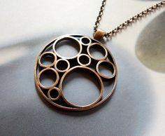 Op art pendant antique copper necklace metalwork OOAK por Mirma