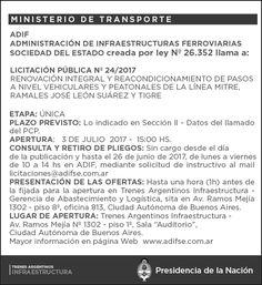 CRÓNICA FERROVIARIA: Llamado a Licitación renovación pasos a nivel y pe...