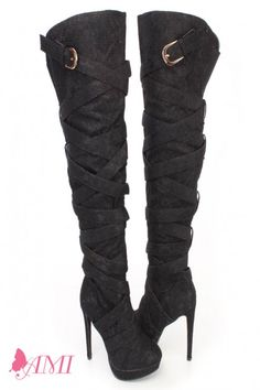 Wrap Around Strappy Thigh High Heel Boots | Thigh high boots ...