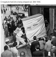5 Megabyte hard drive being shipped out. IBM 1956.