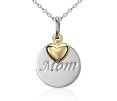 """""""Mom"""" Pendant in Sterling Silver with 14k Yellow Gold Heart Accent"""
