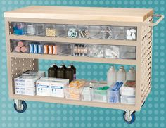 Sturdy louvered carts from Akro-Mils allows your medical supplies to be portable. #organize #medical #healthcare