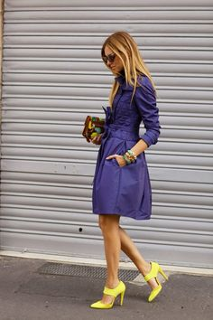 blue coat.yellow heels.floral clutch