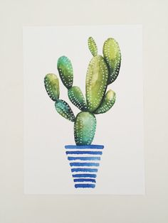 Print of original watercolor painting of a cactus, succulent. striped pot…
