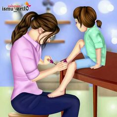 Image may contain: 1 person, sitting Mother Daughter Art, Mother Art, Mother And Child, Love Mom, Mothers Love, Couple Cartoon, Girl Cartoon, Sarra Art, Beste Mama