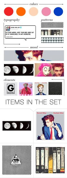 """""""Hesitant Alien Moodboard"""" by my-smolbeans ❤ liked on Polyvore featuring art, gerardway, moodboard and hesitantalien"""