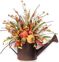 Watering Can Wreath~Fall Wreath~Arrangement~Fall Décor~Watering Can~Autumn… Christmas Floral Arrangements, Fall Arrangements, Crooked Tree, Autumn Wreaths, Wreath Fall, Autumn Decorating, Fall Flowers, Fall Crafts, Halloween