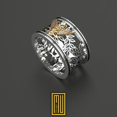 AASR 33rd Degree Masonic Ring With Real Diamond Unique Design for Men 14k Rose Gold 925k Sterling Silver by MuDesignJewelry on Etsy