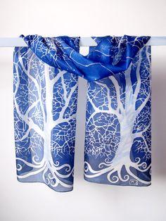White Tree of Gondor silk scarf handpainted by Luiza Malinowska MinkuLUL On Etsy: https://www.etsy.com/listing/121803659/silk-scarves-white-tree-of-gondor-long?ref=shop_home_active_1 #silkscarf #minkulul #lotr #gondor