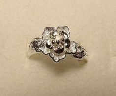 Size 9 1/2 Silver Ring Flower Girls Teen 9.5 Valentines Present Free Shipping!