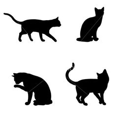 Cat Silhouette Collection Royalty Free Stock Vector Art Illustration
