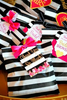 A collection of the web's 12 best Black & White Bridal Shower Ideas to help you shower the Bride to Be with a classy, timeless, and elegant celebration. Kate Spade Party, Kate Spade Bridal, Simple Bridal Shower, White Bridal Shower, Bridal Showers, Marie's Wedding, Wedding Favors, Wedding Ideas, Cake Pink