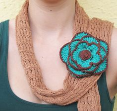 Turquoise flower brooch / crochet brooch / by laviniasboutique