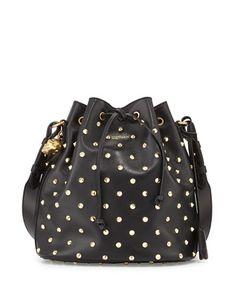 Alexander McQueen Padlock Studded Leather Bucket Bag