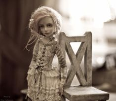 """Art doll by Helena Oplakanska (Елена Оплаканская). She says: """"I'm an artist - dolls's creator. One day I understood that creating a dolls I could express much more than with the drawing. The world of dolls gives the chance to us to return to the childhood and a feel again like we live in a noble and beautiful fairy tale...[It's a] world of feelings and ocean of emotions. I'm the member of International federation of artists of Russia (IFAR)."""""""