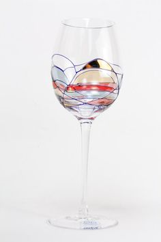 SET OF FOUR (4) - Milano Hand Painted Hand Blown European Wine Glasses 16oz - Wedding Glasses- Free Shipping