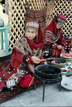 Turkmenistan women wearing traditional dress at a market in Ashgabat.