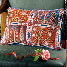 """'Oxiana' is taken from a section of Persian carpet and this rectangular cushion makes a balanced composition. In the words of William Morris: """" To us designers, Persia became the holy-land, for there in the process of time our art was perfected """". Cross Stitch Pillow, Cross Stitch Rose, Cross Stitch Embroidery, Felt Embroidery, Tapestry Kits, Wall Tapestry, Needlepoint Kits, Needlepoint Pillows, Needlepoint Canvases"""