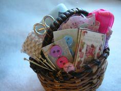 Miniature dollhouse sewing basket 1 by josmund on Etsy, $7.50