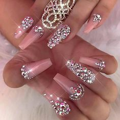 Love These Blush Colored Rhinestone Coffin Nails Acrylic Nails