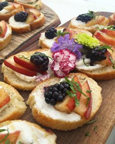 Summer appetizer: crostini with locally grown nectarines + blackberry with herbed ricotta | Farm to Table Catering | Grass Valley, Ca | Wedding Caterer