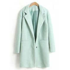 Elegant Lapel Collar Two Buttons Long Sleeves Women's Long Coat, LIGHT GREEN, M in Jackets & Coats | DressLily.com