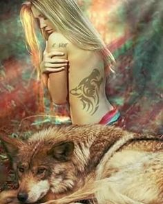 Beauty and the beast Fantasy Wolf, Fantasy Art Women, Beautiful Fantasy Art, Wolf Images, Wolf Pictures, Wolf Love, Anime Wolf, Natur Wallpaper, Wolves And Women