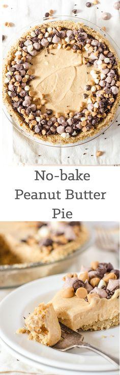 No-bake peanut butter pie with pretzel crust