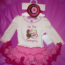 60b8ea7e64a8 Kids Baby Girl White/HotPink My First Thanksgiving Outfit Turkey Headband  Tutu My First Thanksgiving