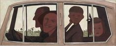 The Car, 1955 National Gallery Victoria, Melbourne John Brack had a style that evolved into sketch-like paintings filled with pl. Australian Painters, Australian Artists, Art Database, Art And Architecture, Painting & Drawing, Illustrators, Art Gallery, Drawings, Car