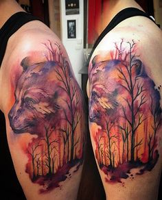 watercolor bear and forest tattoo