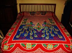 vintage chenille double peacock red background all cotton bedspread