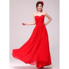 [US$ 99.99] A-Line/Princess Sweetheart Floor-Length Chiffon Evening Dress With Ruffle (017014006)