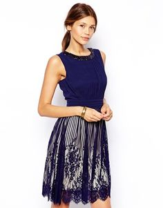 Blue Navy Little Mistress Embroidered Mesh Prom Dress with Necklace Detail ASOS $125