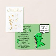Green Dinosaur Birthday Party Invitation